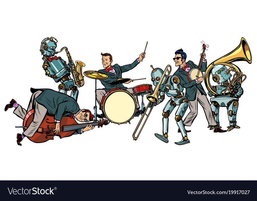Futuristic jazz orchestra of humans and robots