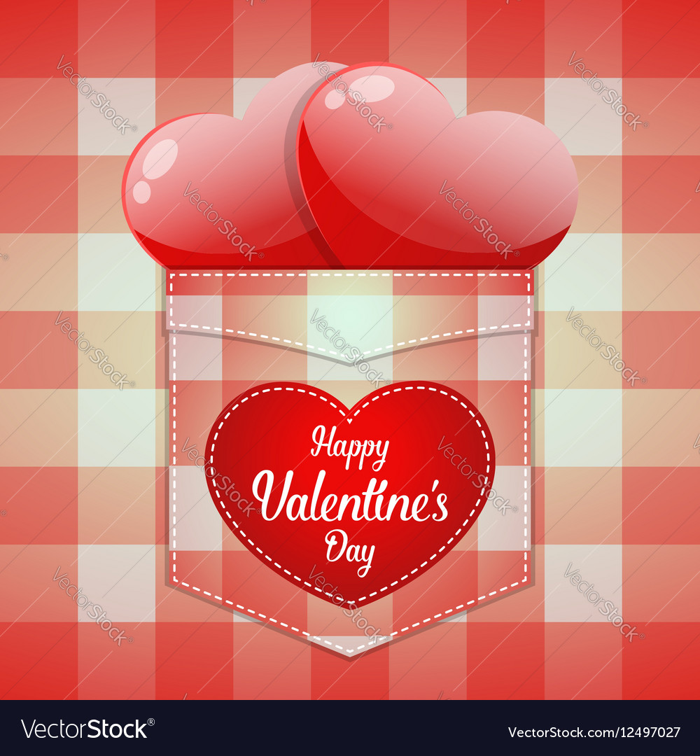 Glossy red heart in pocket with Happy Valentines
