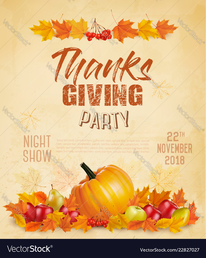 Happy thanksgiving flyer with colorful leaves and