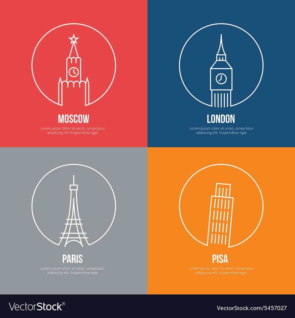 Landmarks line art posters