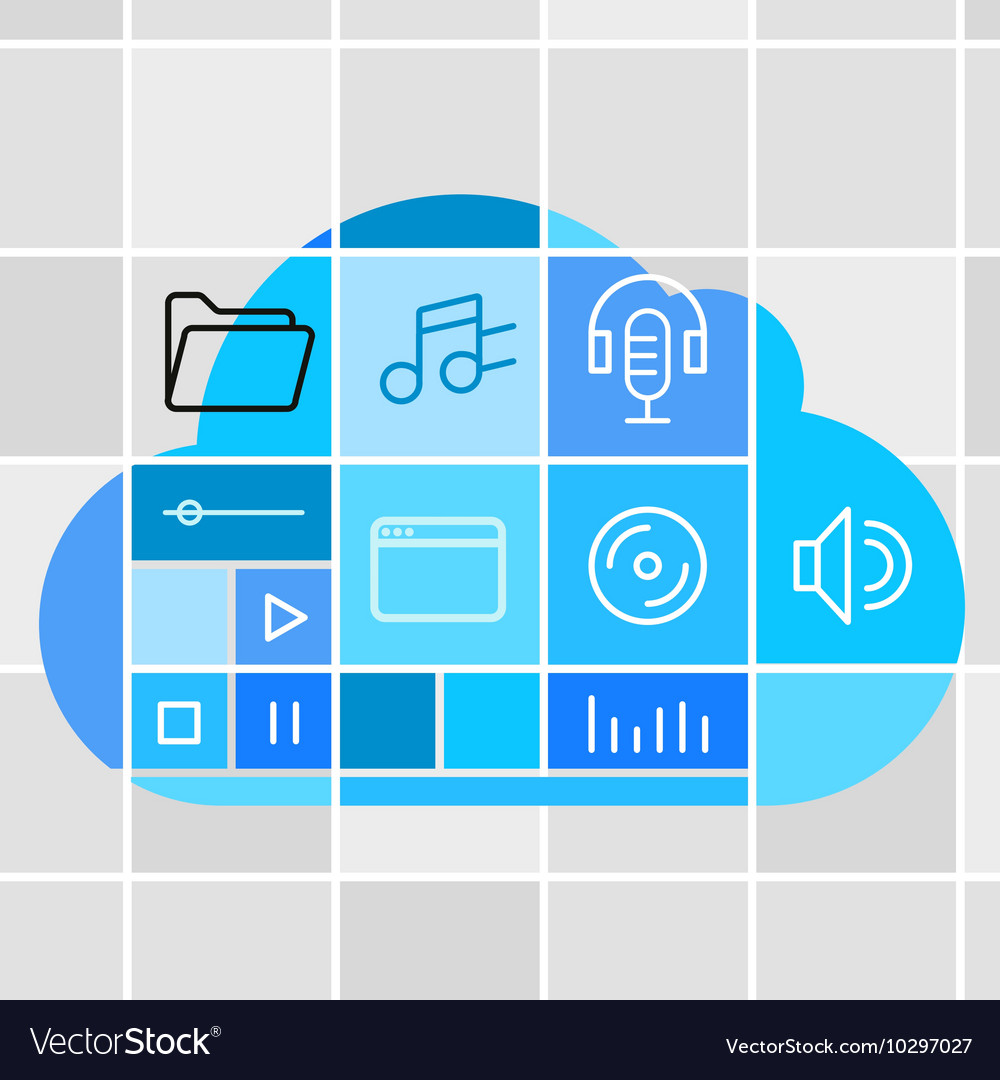 Media storage cloud technology concept