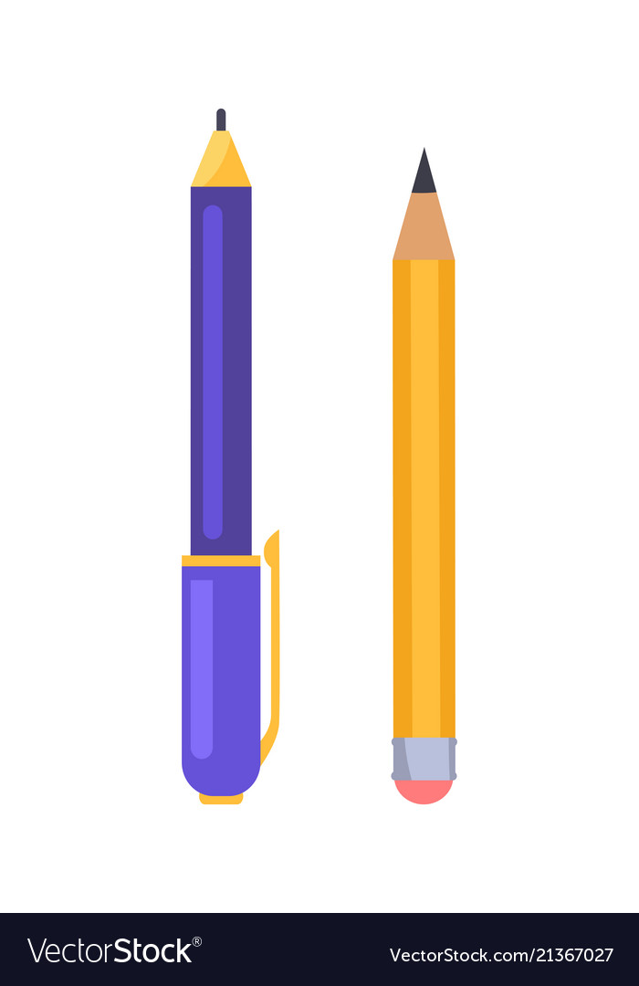 Pen and pencil icons isolated