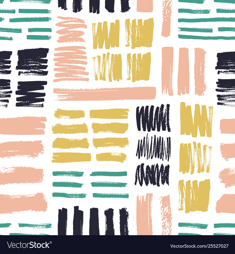 Seamless pattern with bright colored brush strokes