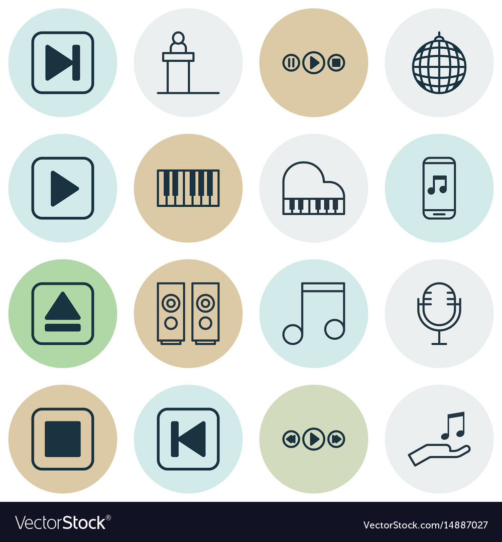 Set of 16 music icons includes note skip song vector image