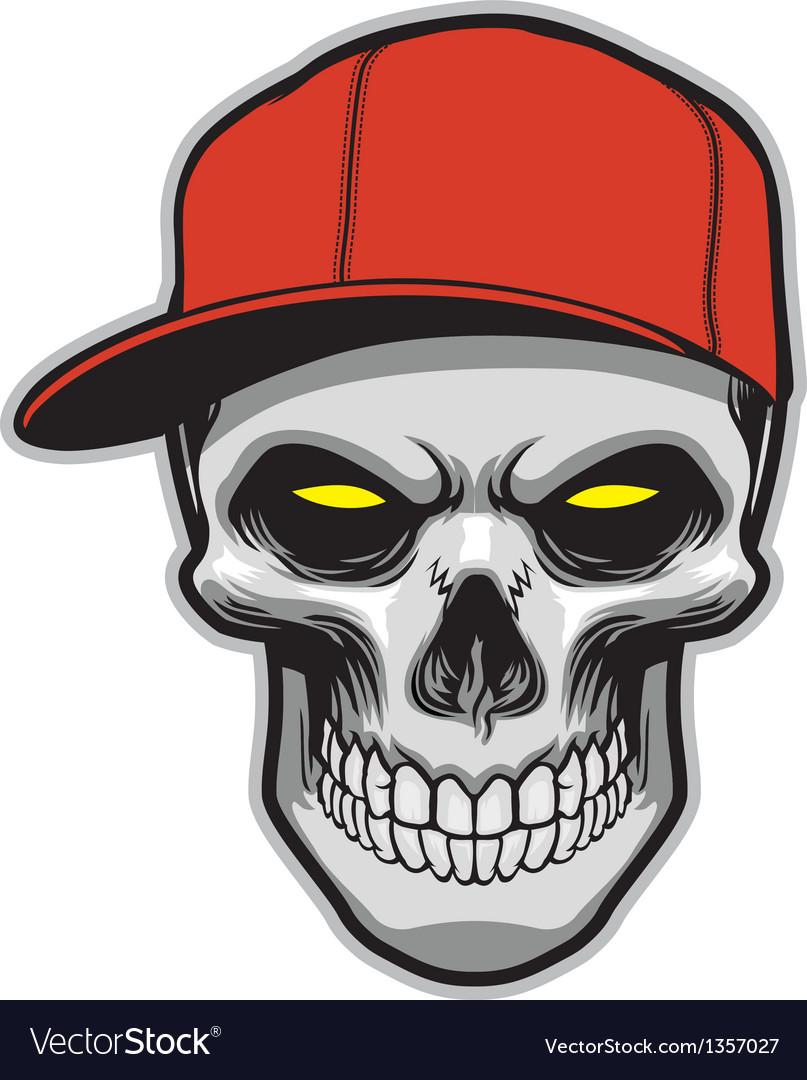Skull head wearing a hat