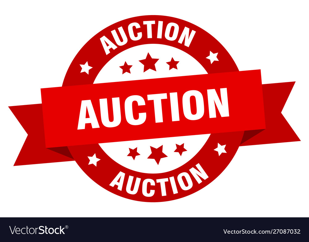 Auction ribbon auction round red sign auction