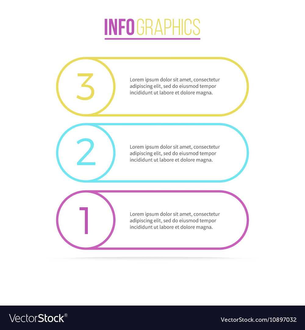 Business infographics List with 3 steps options