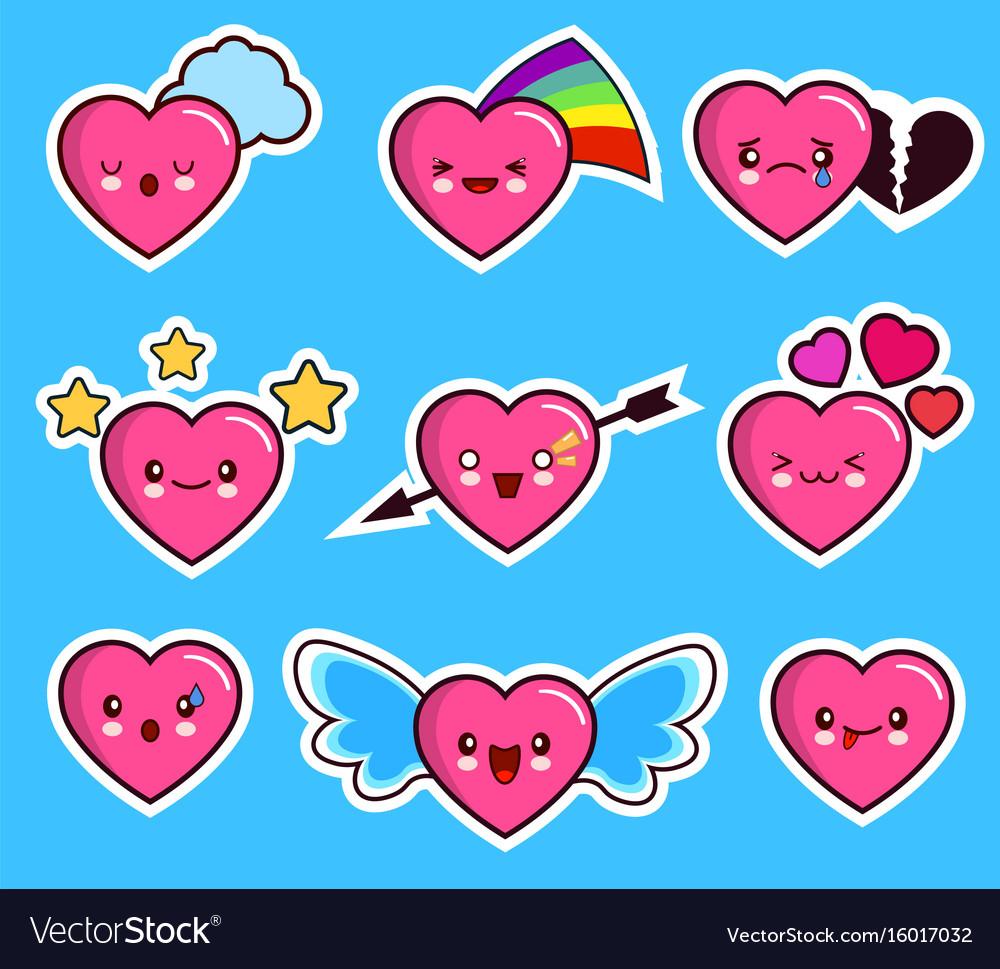 Funny heart emoticon icon set valentine s day vector image
