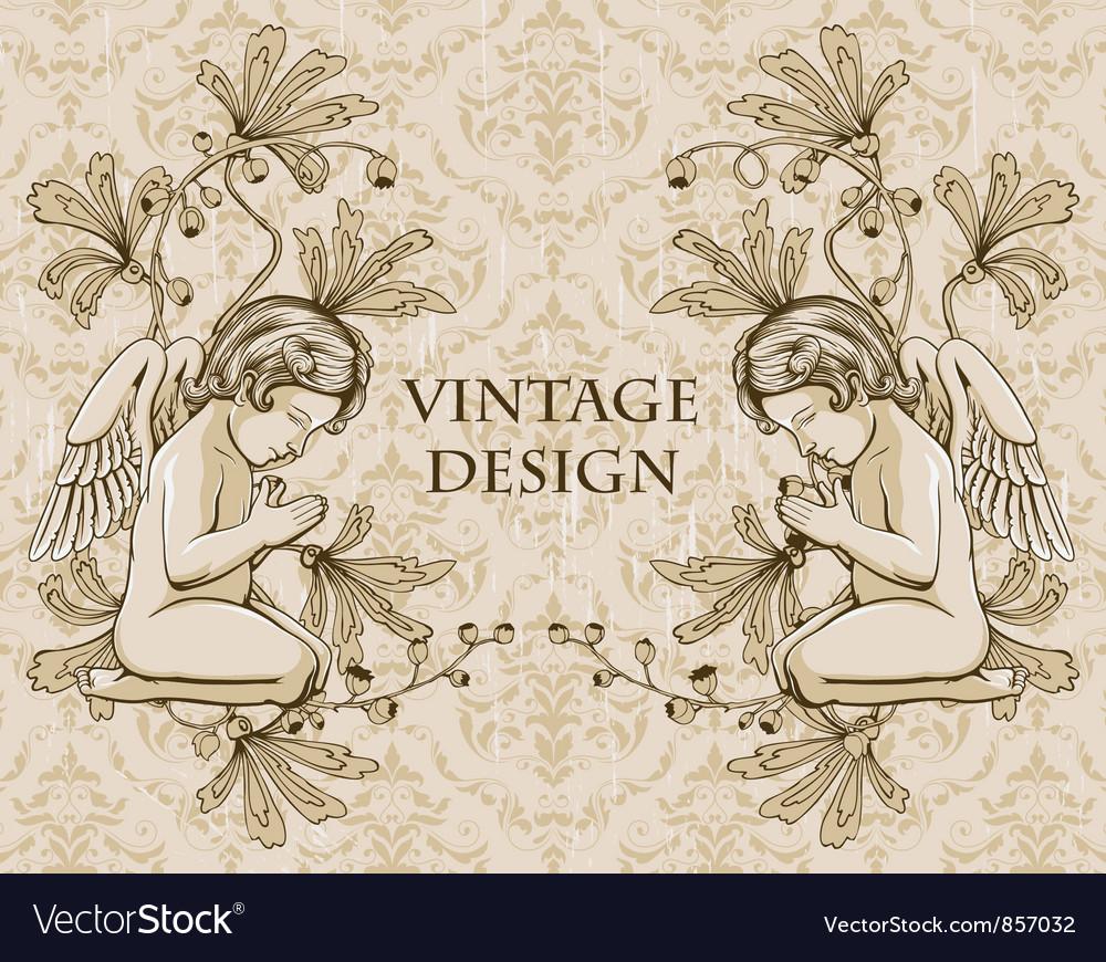 Grunge damask background with angels vector image