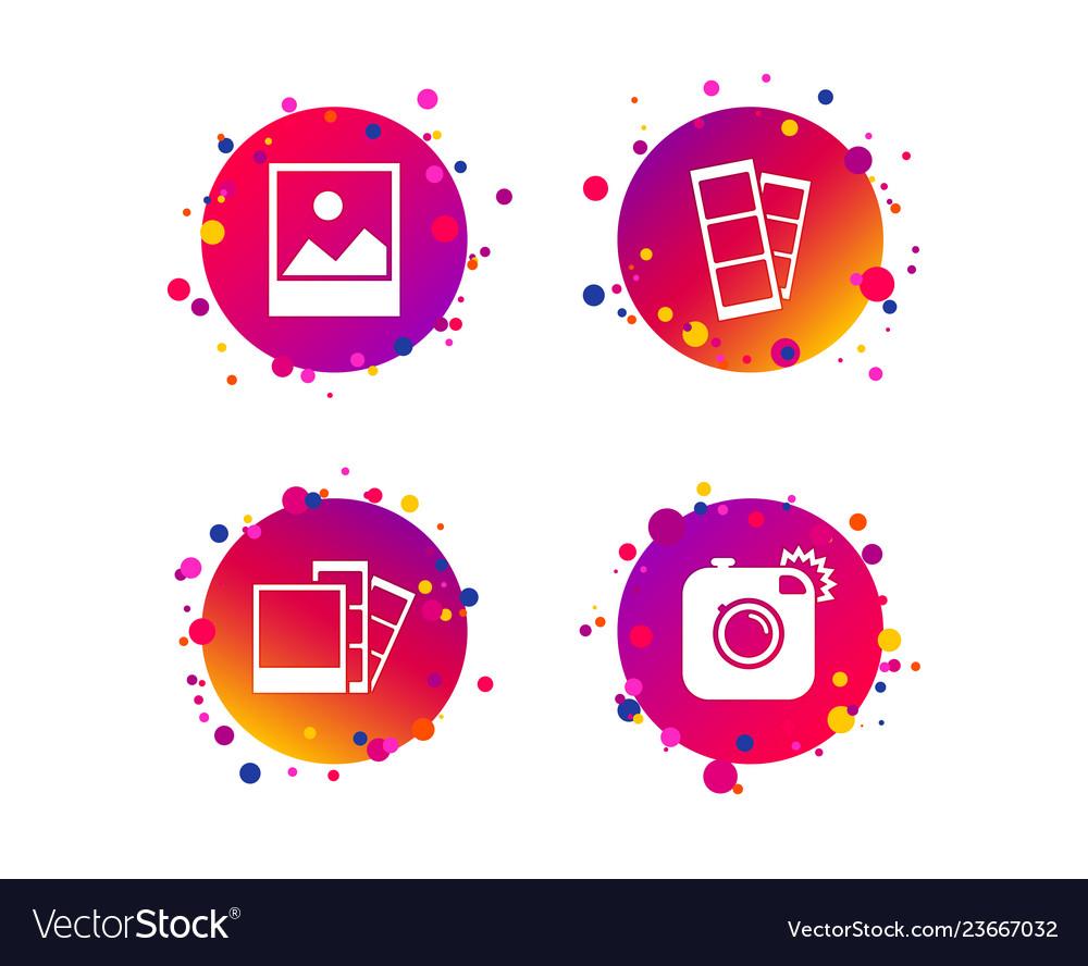 Photo camera icon flash light and landscape
