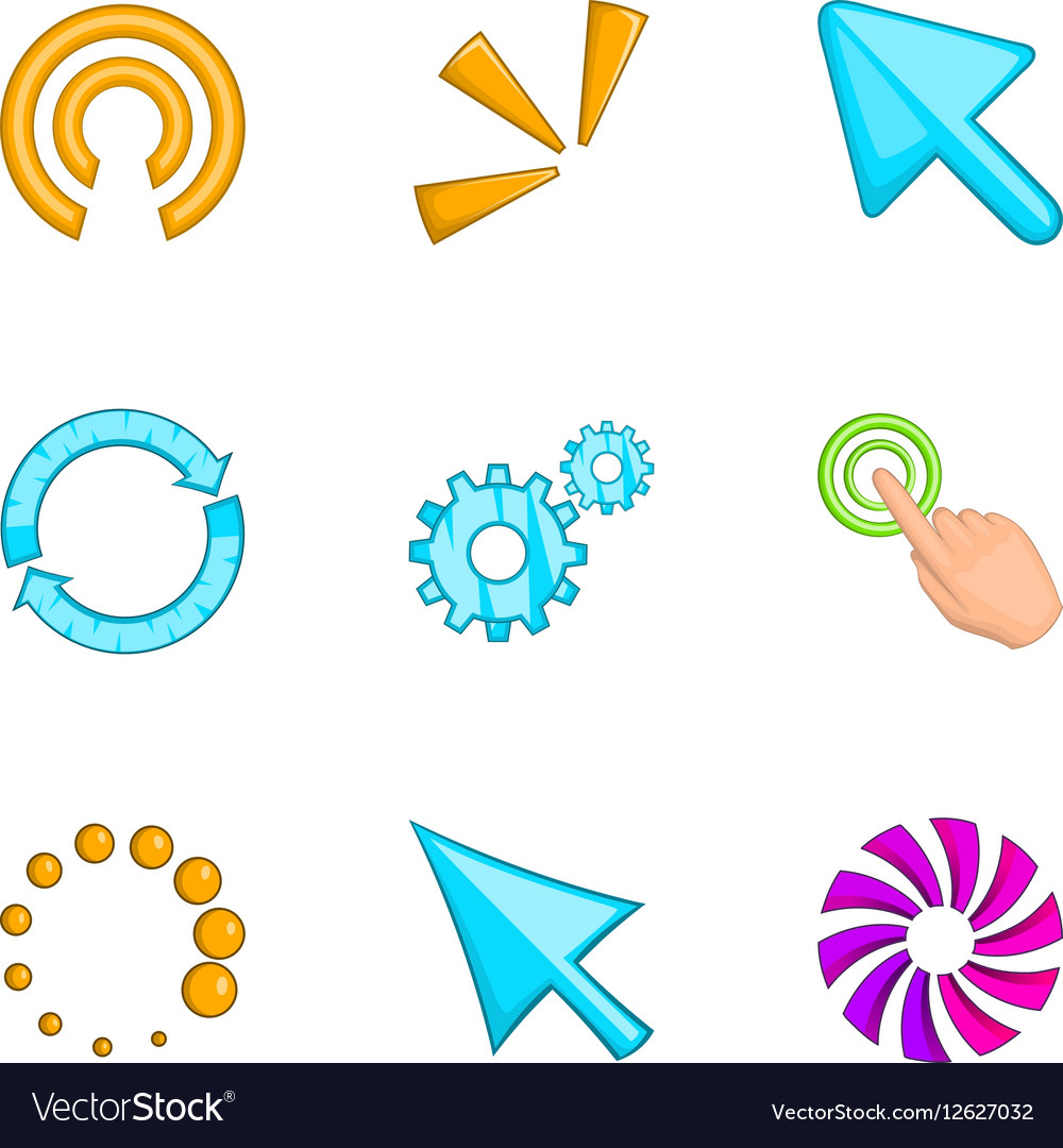 Pointer computer mouse icons set cartoon style