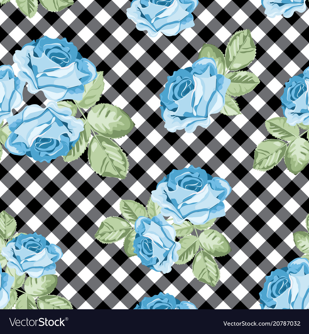 Roses seamless pattern on black and white gingham