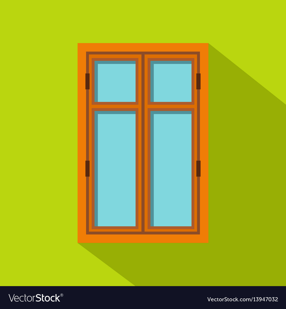 Wooden brown window icon flat style