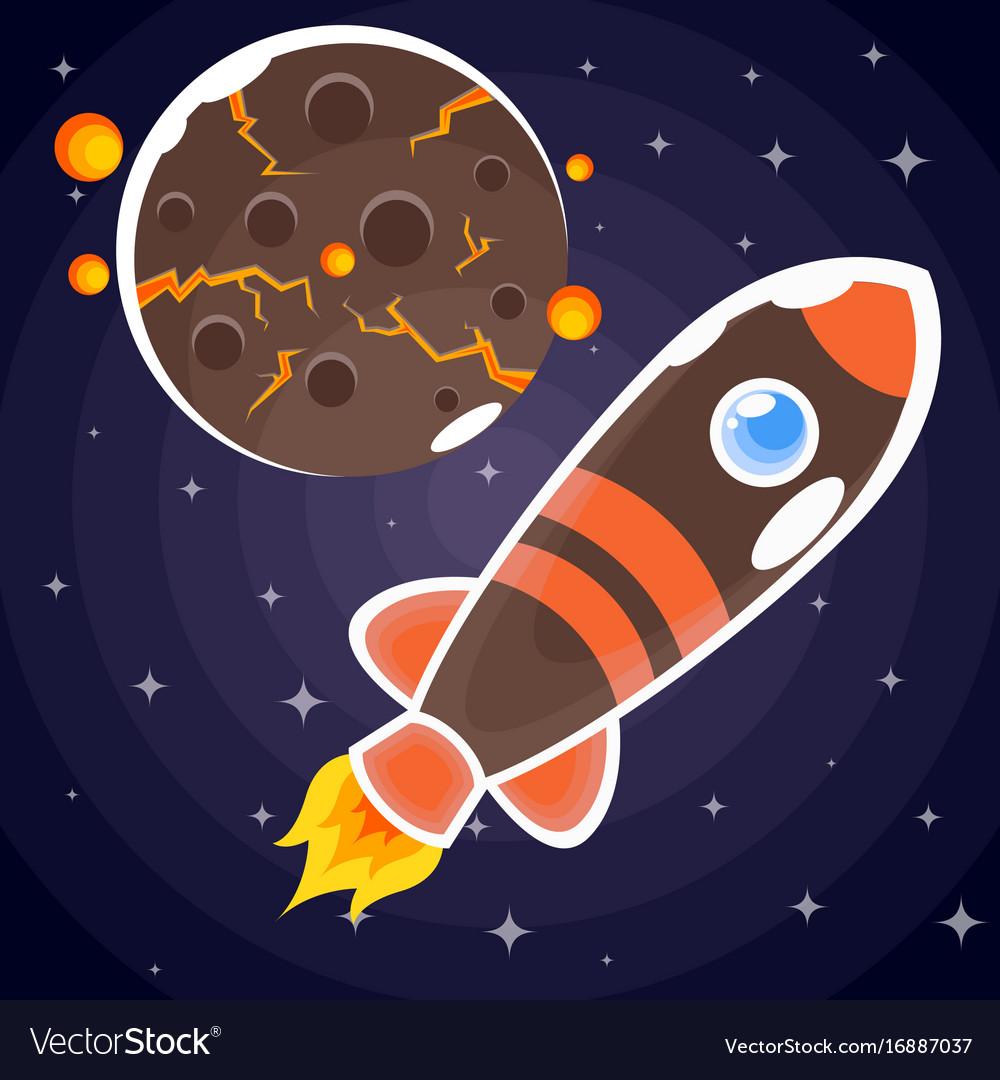 A sticker of a brown rocket with orange stripes