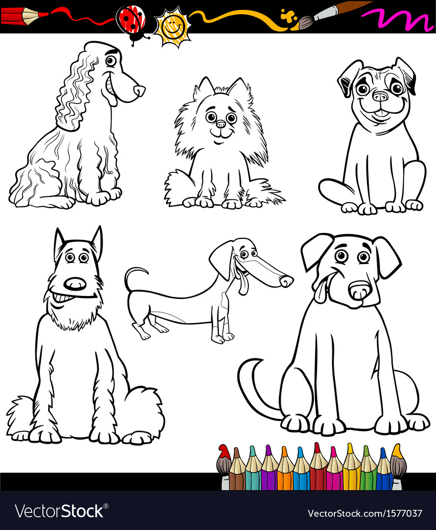 Cartoon Dog Breeds Coloring Page Royalty Free Vector Image