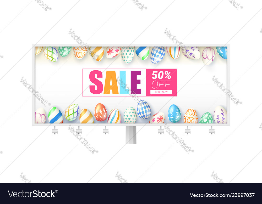 Easter sale billboard with design of handwritten