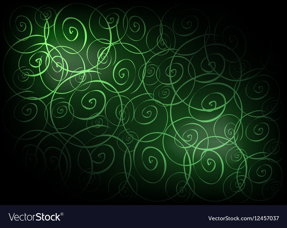 Green Vintage Wallpaper with Spiral Pattern vector image