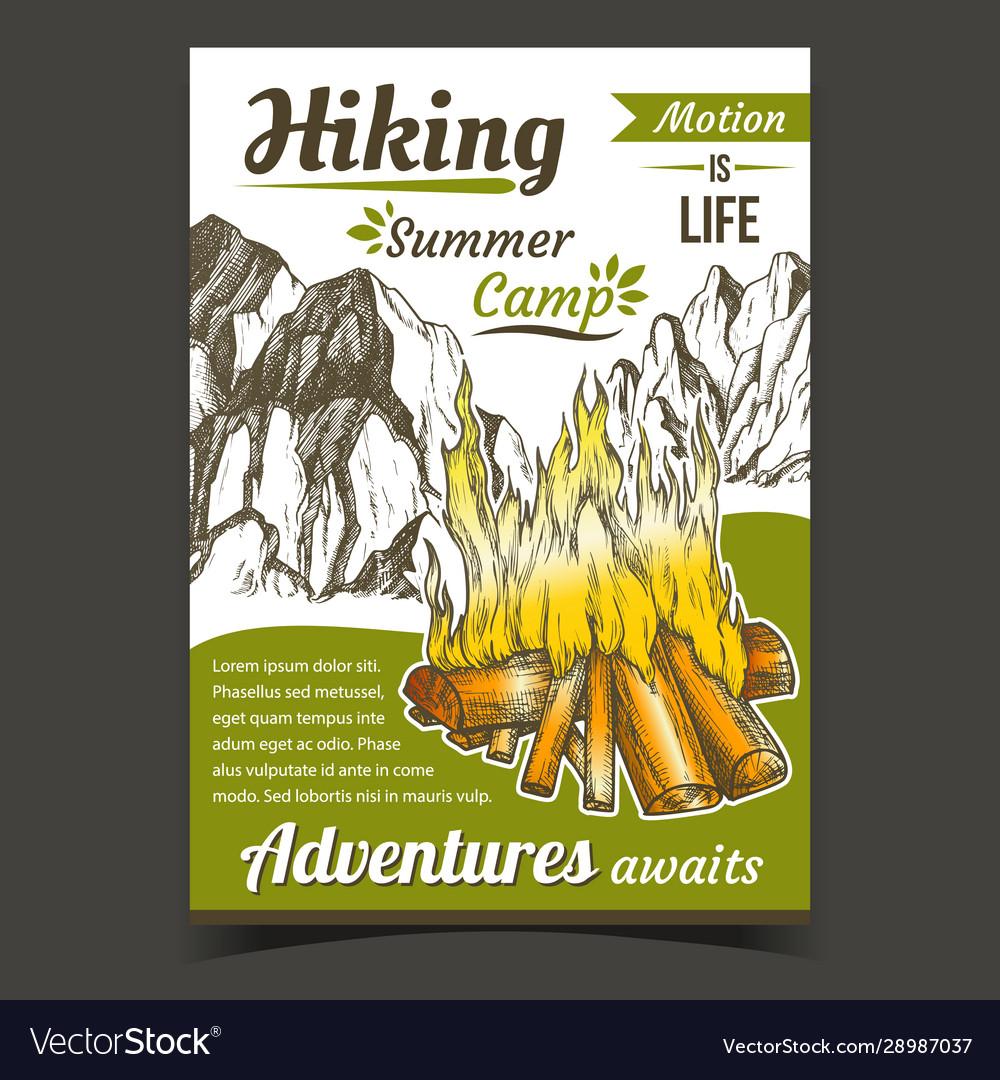 Hiking summer camp sport adventures poster