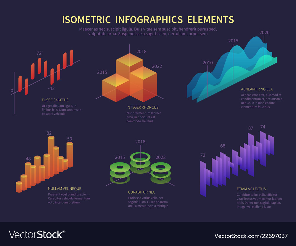 Isometric infographics presentation graphics