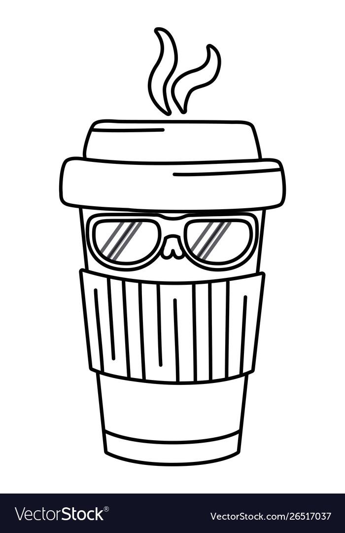 Kawaii Coffee Mug Cartoon Design Royalty Free Vector Image