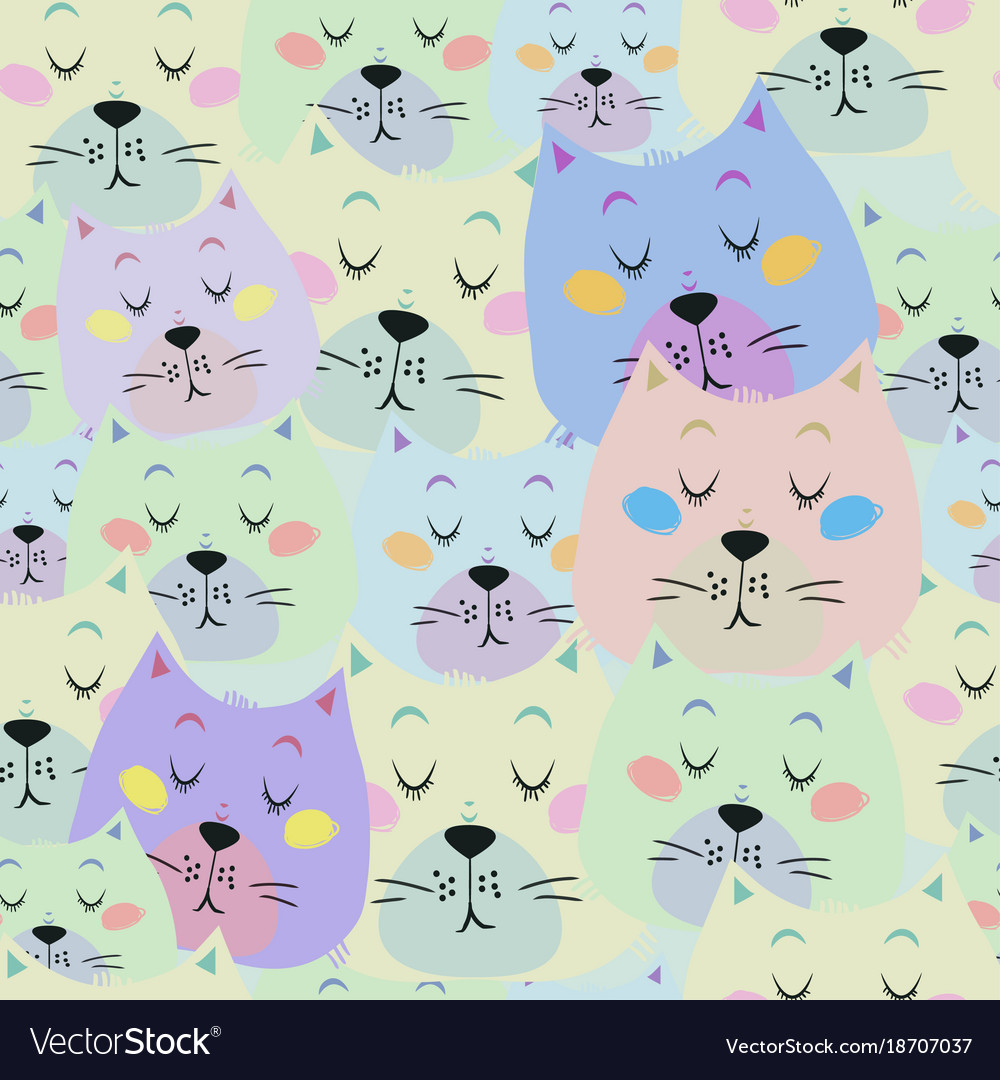 Seamless pattern with cute sleeping cat