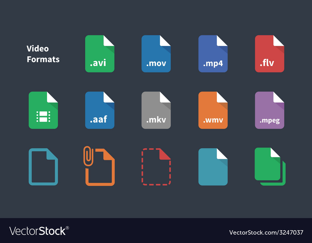 Set of Video File Formats icons