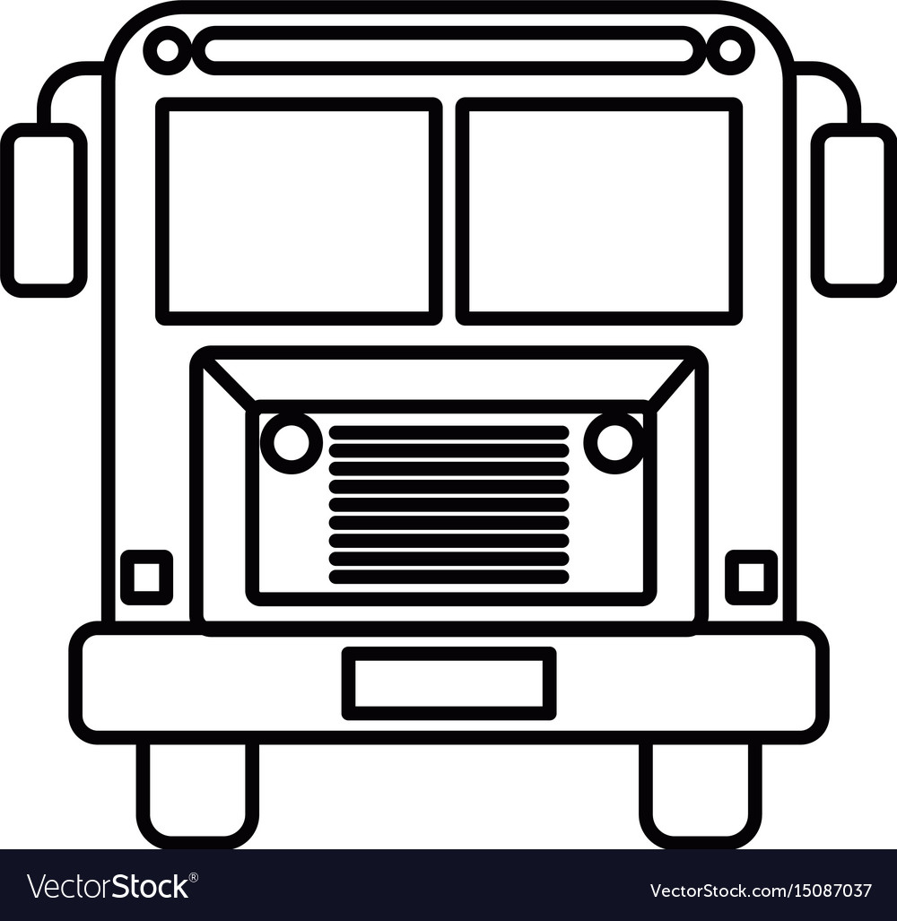 sketch silhouette image front view school bus with rh vectorstock com School Bus Black and White School Bus Cut Out Pattern