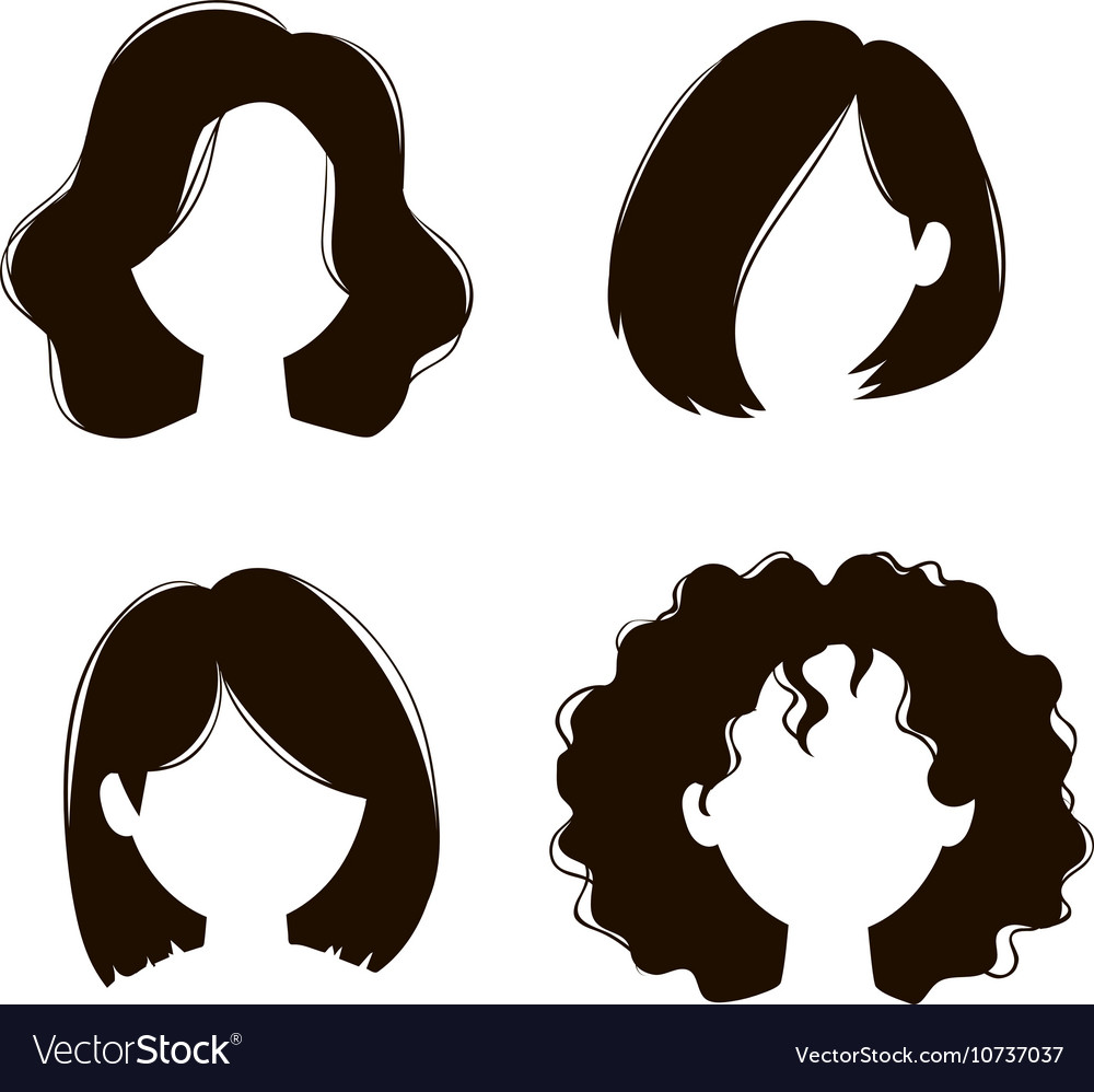 Woman Hairstyle Silhouette Royalty Free Vector Image