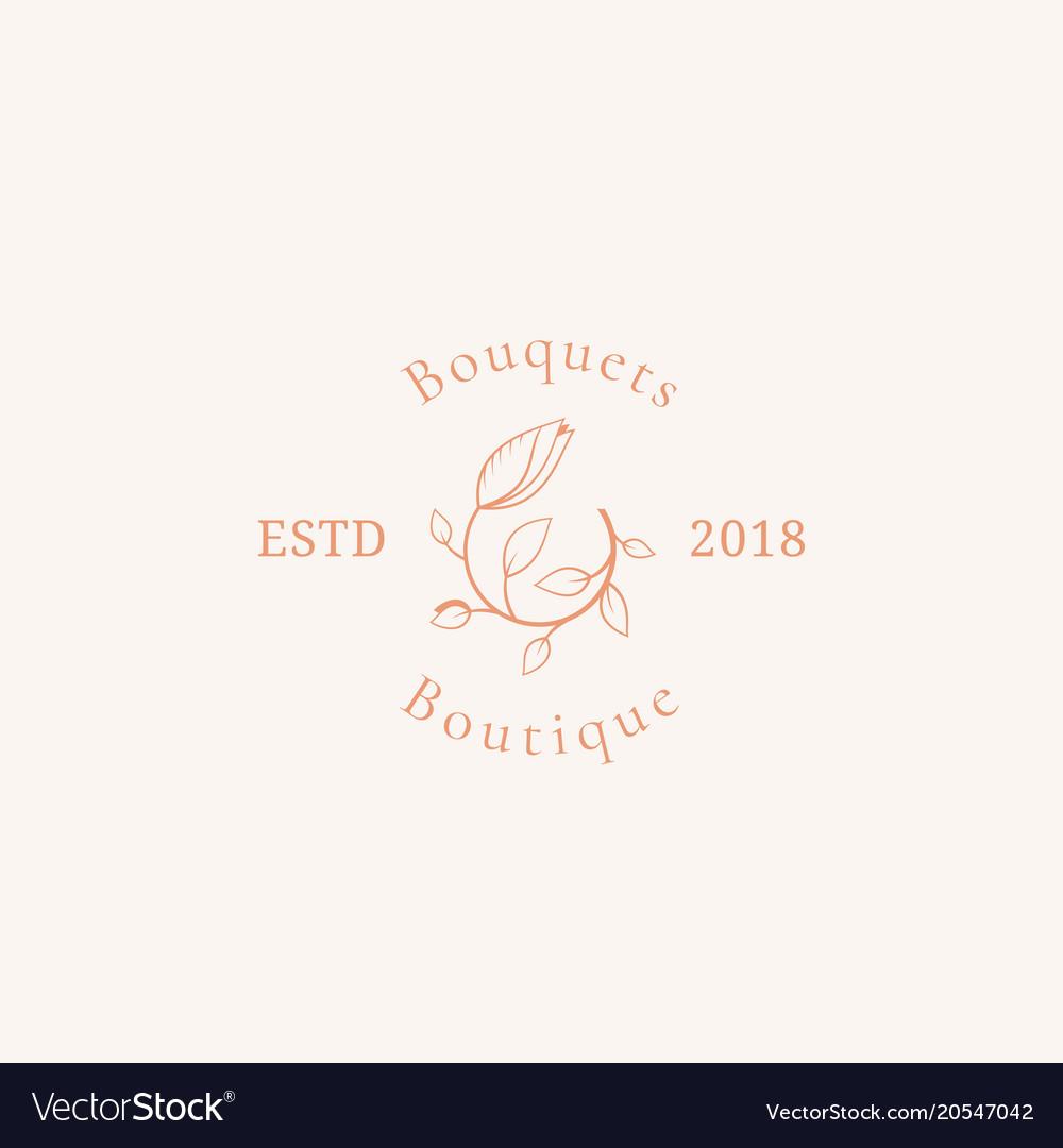 Bouquets boutique sign symbol or logo vector image