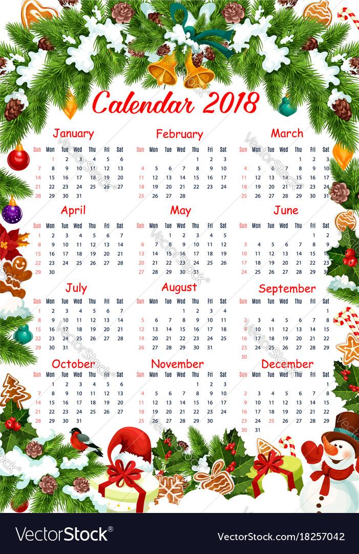christmas 2018 calendar decoration template vector image