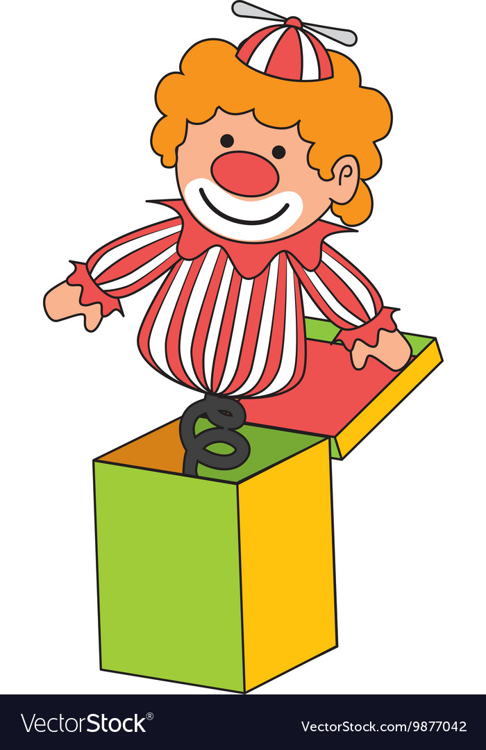 Clown suprise box toy icon vector image