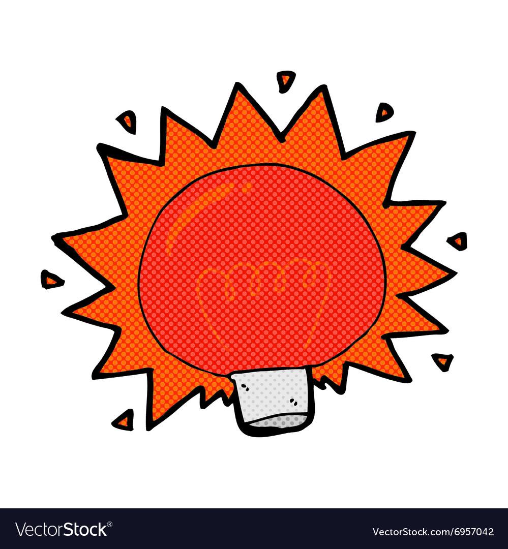Comic Cartoon Flashing Red Light Bulb Vector Image