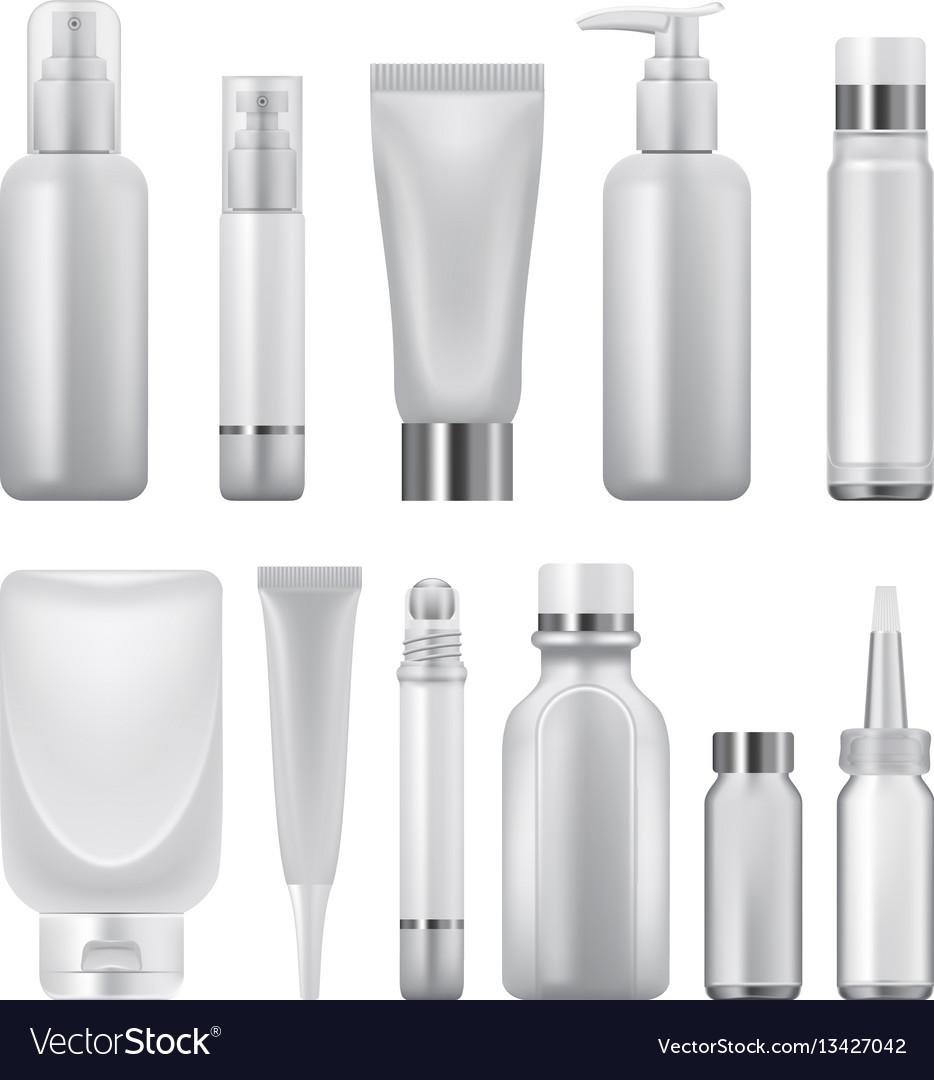 Cosmetics pack mockup set realistic style