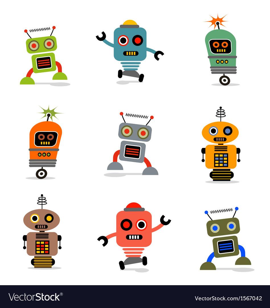 Cute robots set 1 vector image