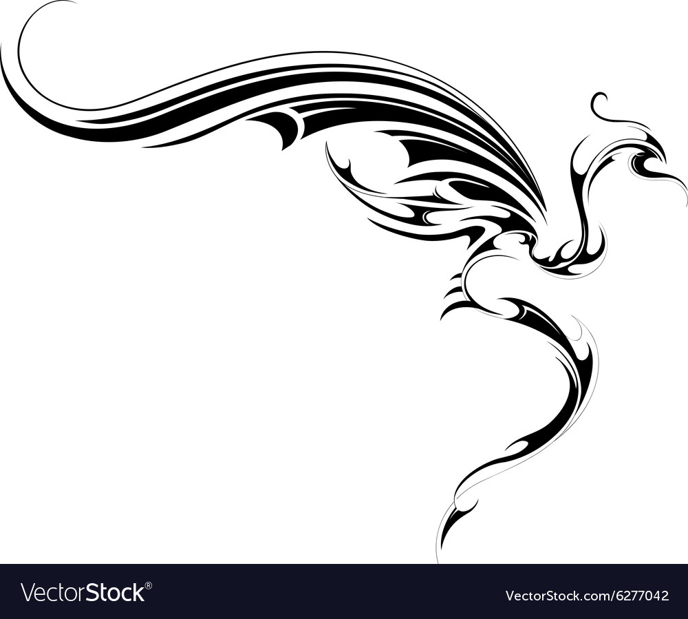 Flying dragon tattoo vector image