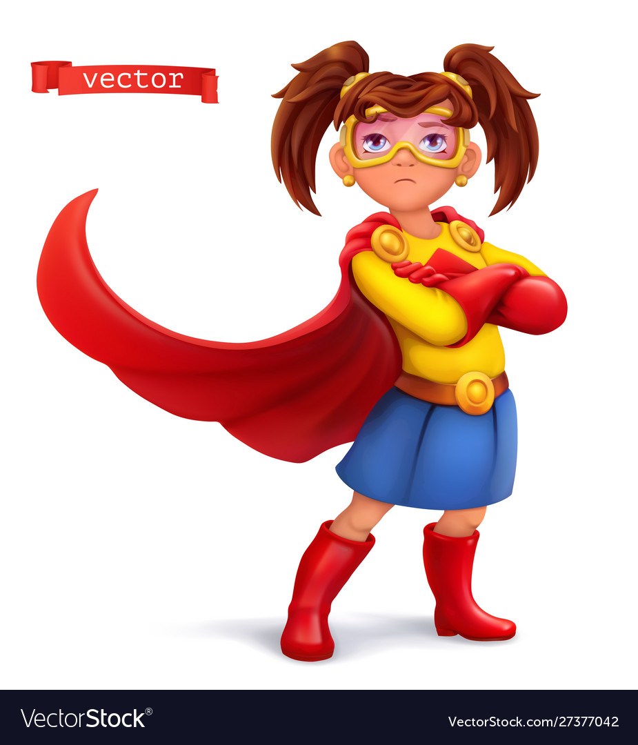 Little girl in superhero costume with red coats