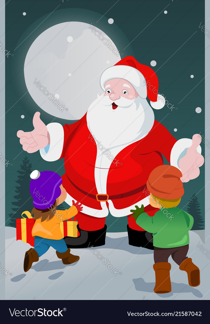 Little kids with santa claus
