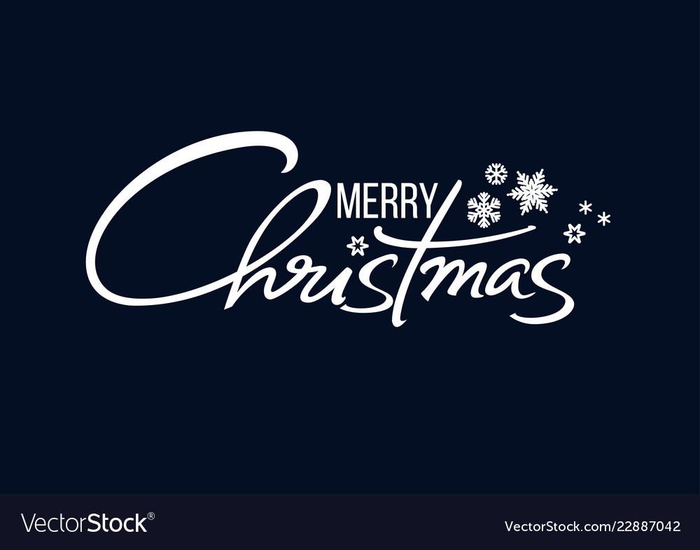 Merry christmas handwritten lettering white text