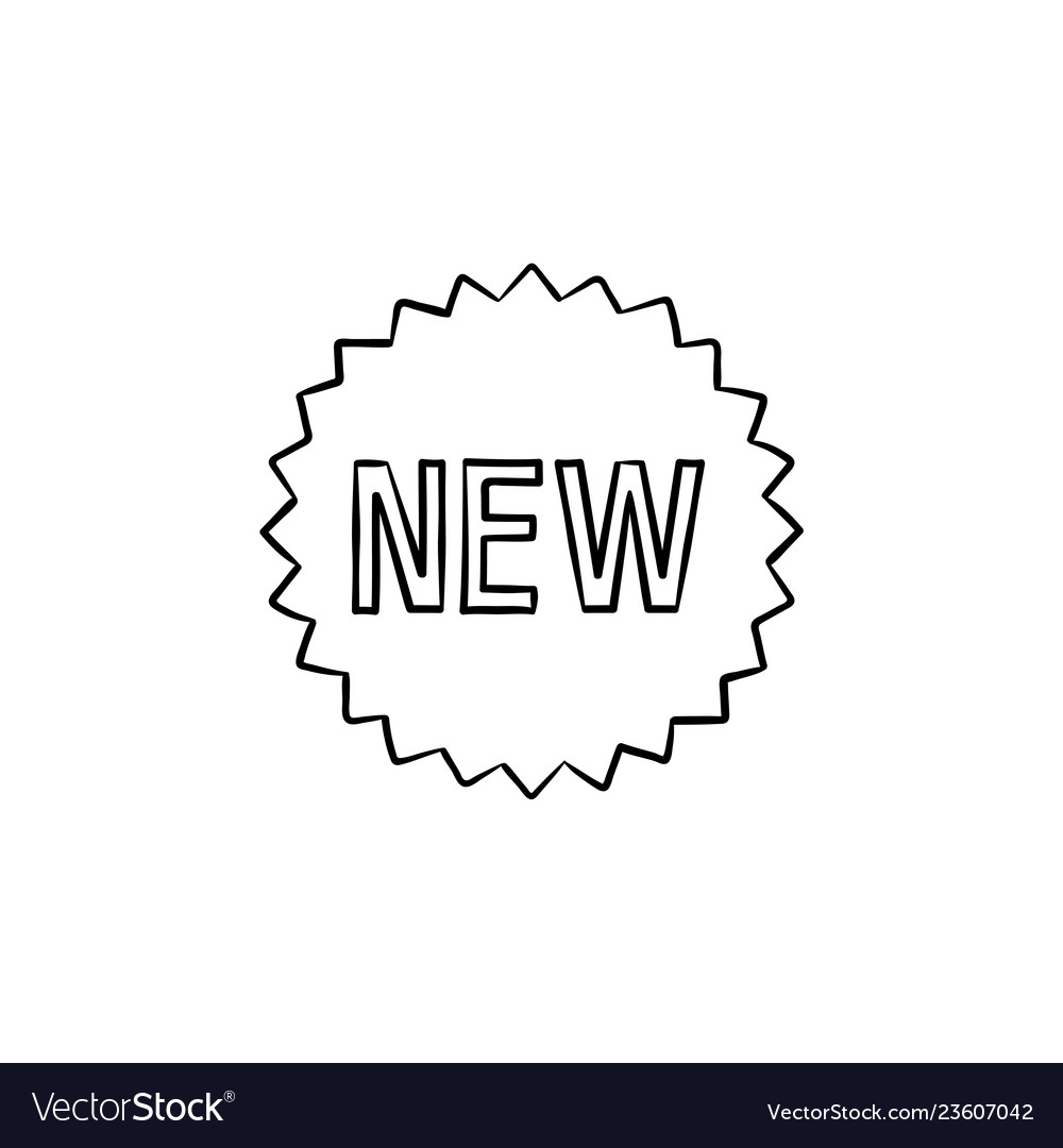 New product sticker hand drawn outline doodle icon