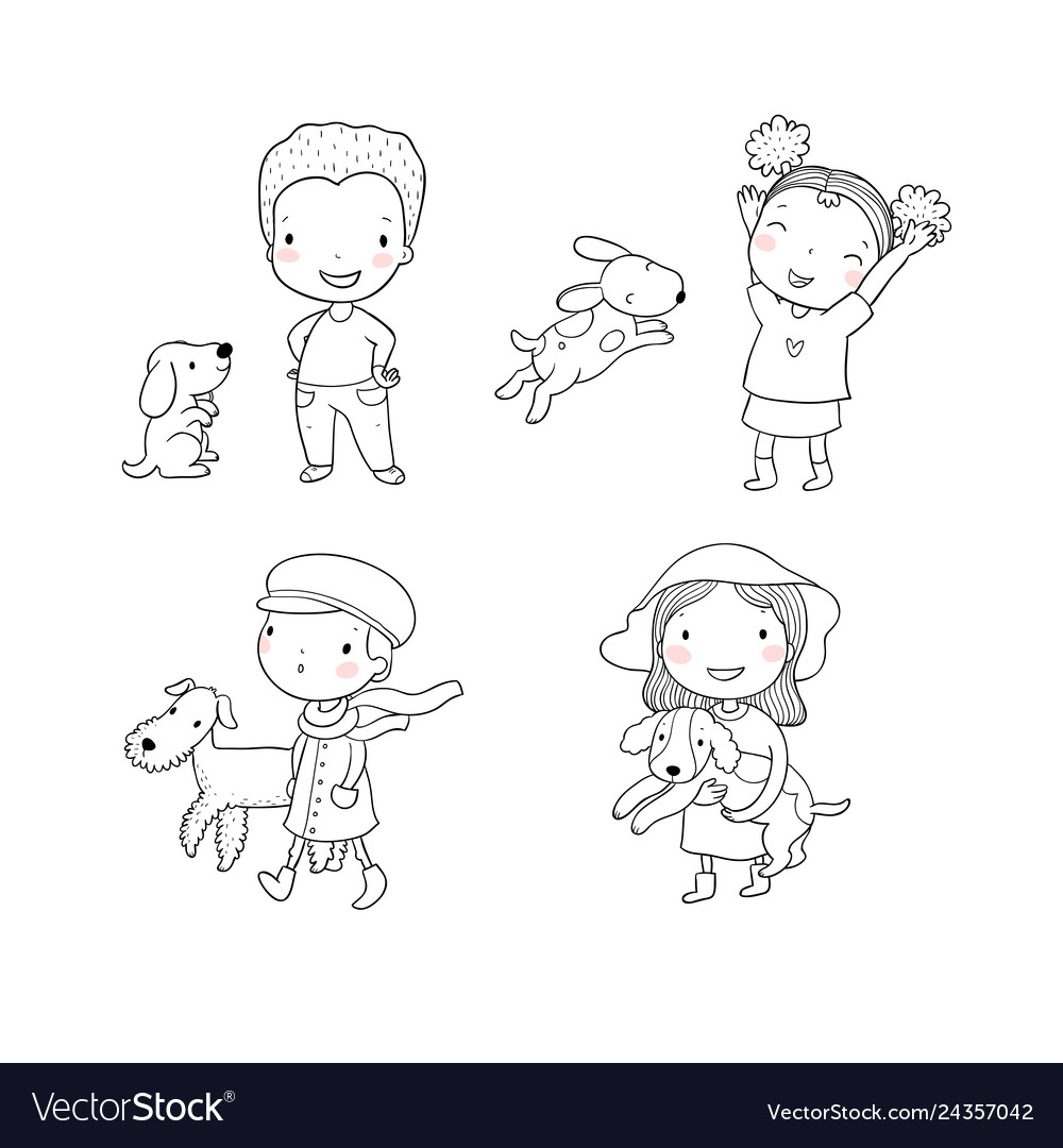 People with pets cute cartoon men and women