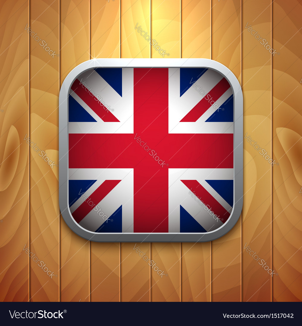 Rounded square united kingdom flag icon on wood