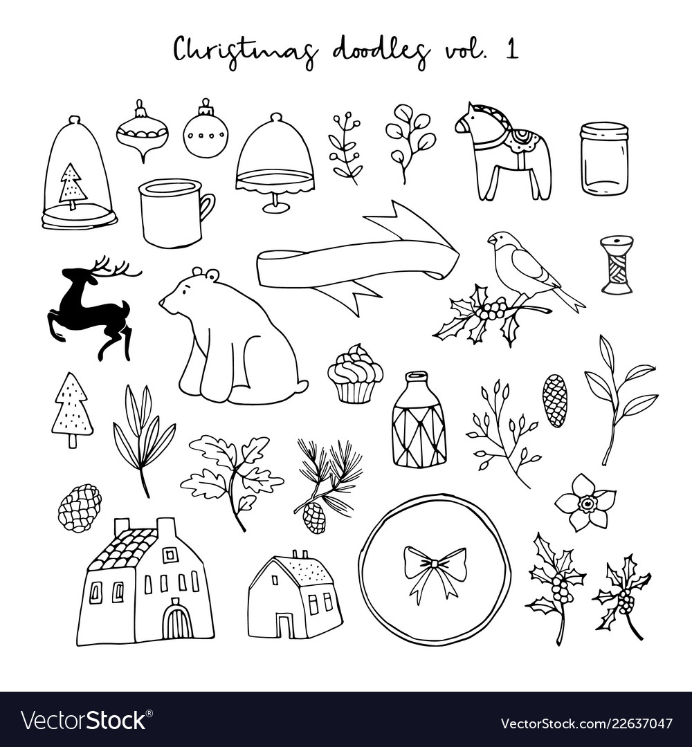 Christmas doodle icons set black isolated