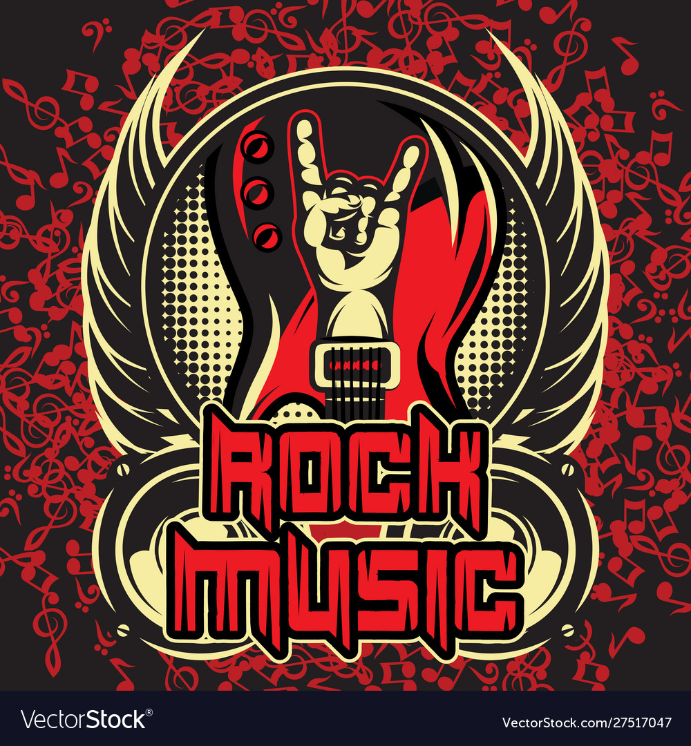 Color template invitation poster on rock music