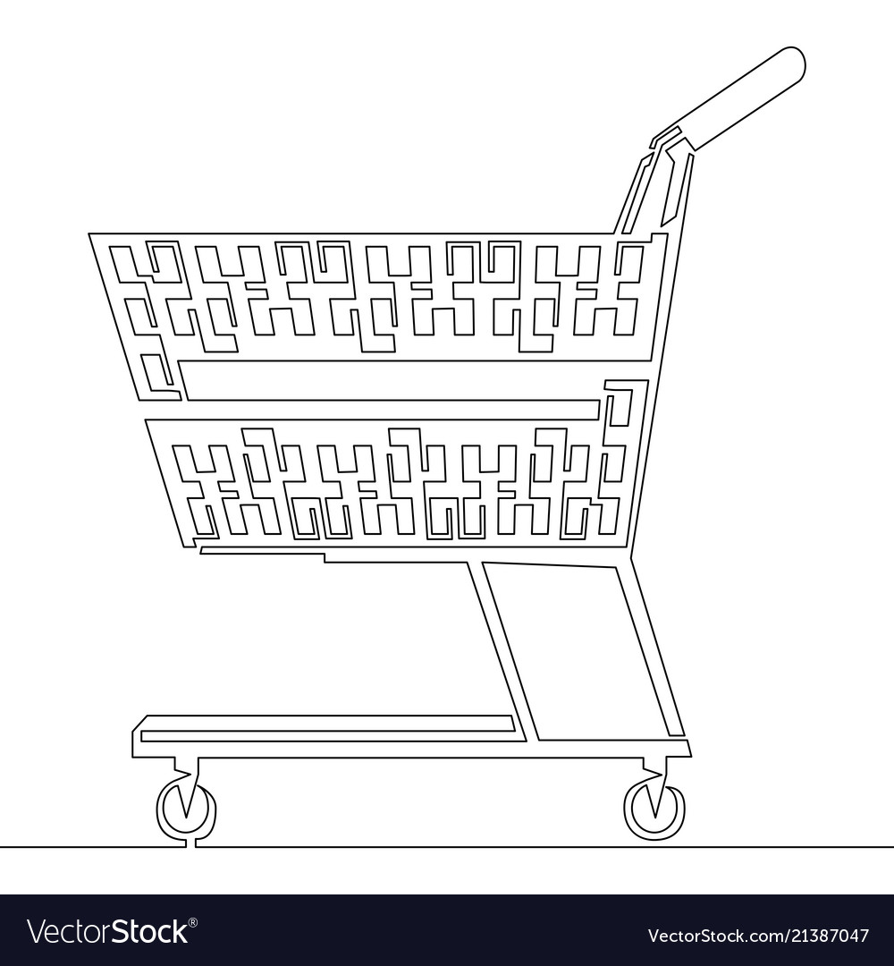 Continuous one line drawn shopping cart