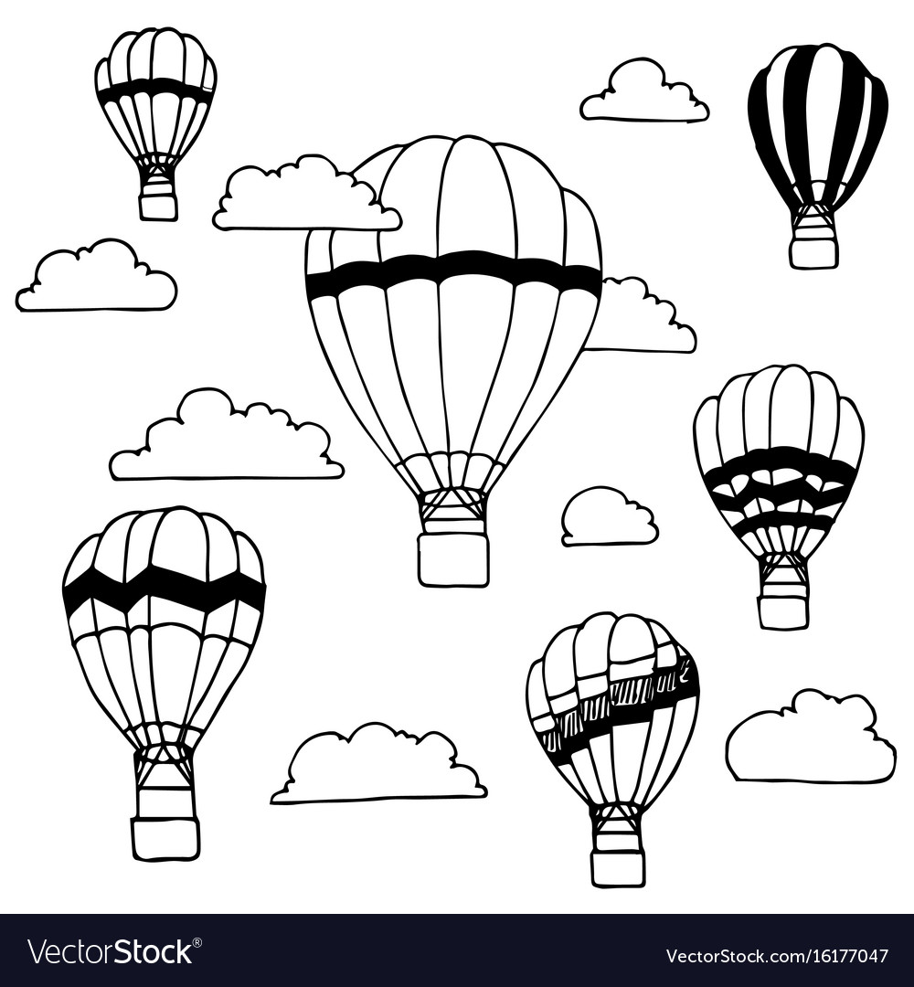 Hand drawn of hot air balloons and clouds on
