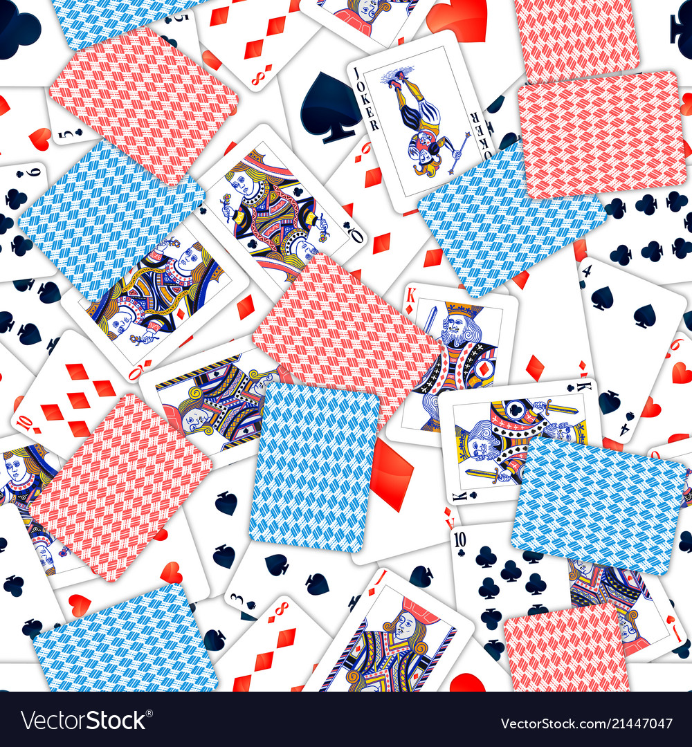 Lot of realistic playing cards seamless pattern