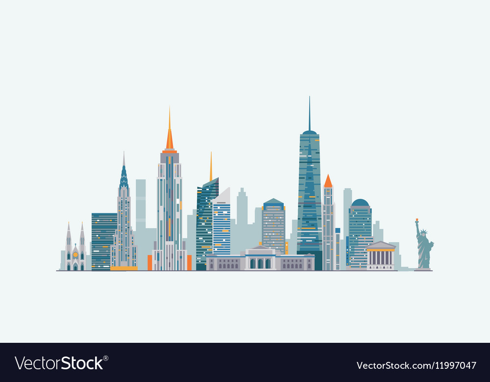 New York Abstract Skyline Royalty Free Vector Image