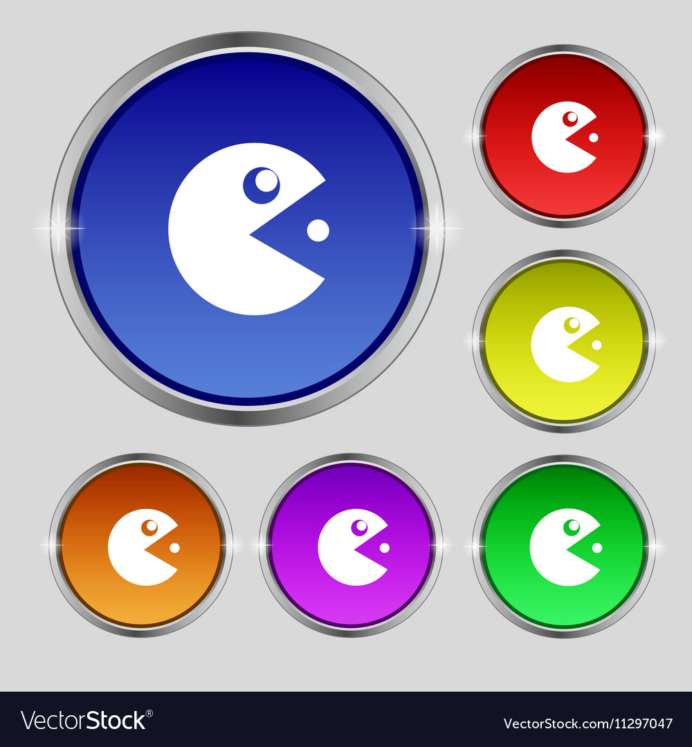 Pac man icon sign Round symbol on bright colourful