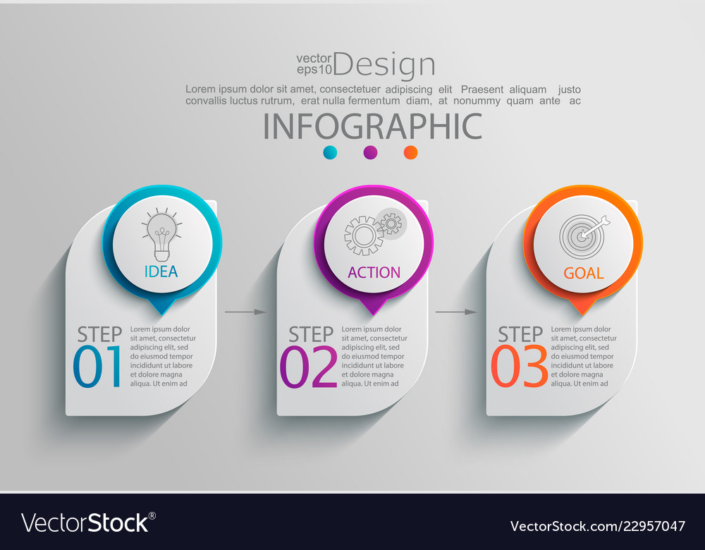Paper infographic template with 3 options