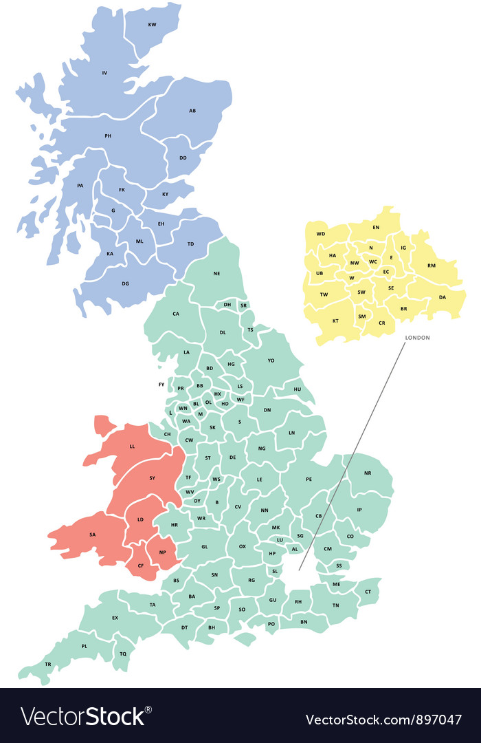 Uk Map Vector Postcode Map of UK Royalty Free Vector Image   VectorStock